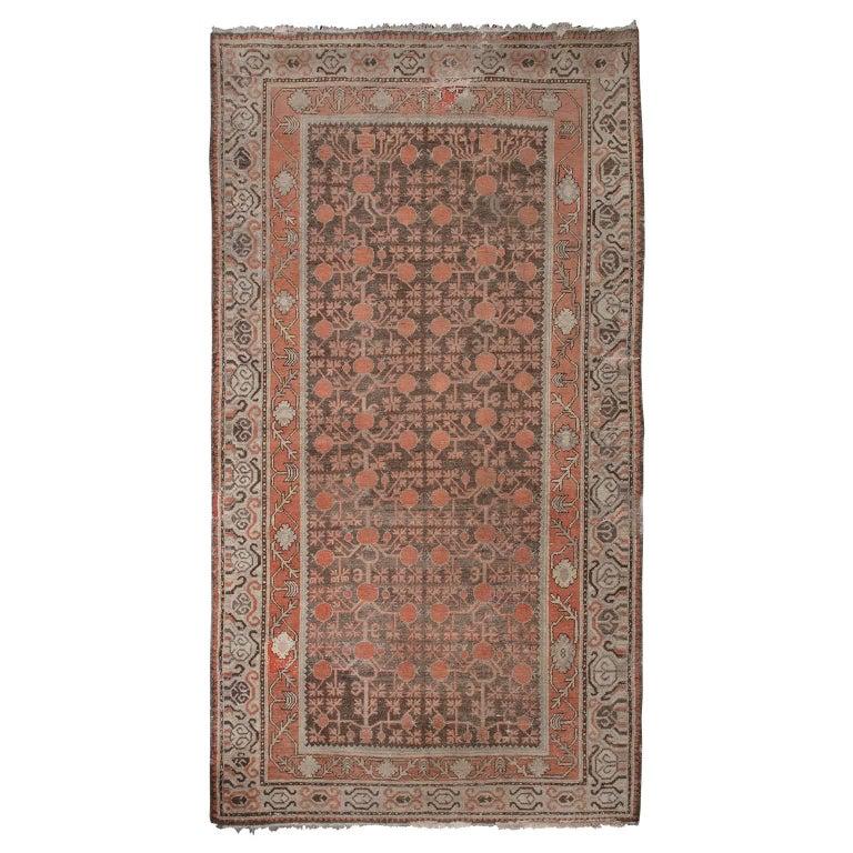 Soft Pink And Brown Khotan Rug For Sale At 1stdibs