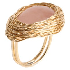 Soft Pink Rose Quartz Cabochon One of a Kind Gold Statement Ring Sheila Westera
