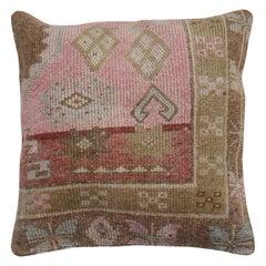 Soft Pink Tribal Turkish Large Square Rug Pillow