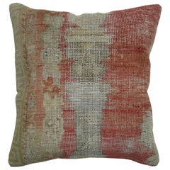 Soft Red Antique Oushak Rug Pillow