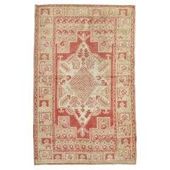 Soft Red Ivory Turkish Oushak Scatter Rug