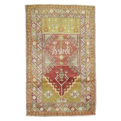 Soft Red Light Green Gray Accent Geometric Turkish Anatolian Scatter Size Rug