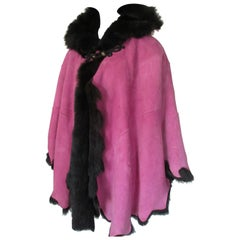 Soft Suede Pink Tuscany Lamb Shearling Fur Cape with hood