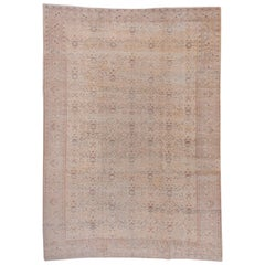 Soft Toned Turkish Oushak Rug, Blue Peach Accents, All-Over Field, circa 1930s