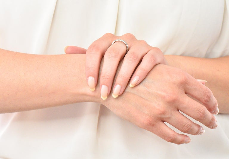 Sohengrin 1931 Art Deco 18 Karat White Gold Orange Blossom Band Stack Ring For Sale 5