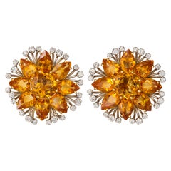 Sophia D. Fancy Citrine Diamond Gold Ear Clips