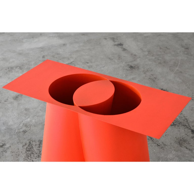 Stool designed by Sohma Furutate. Made of painted steel.  Artist statement How to see, how to recognize. - When we recognize an object in front of us, we have unconsciously captured the actual image using past experience and knowledge. However,