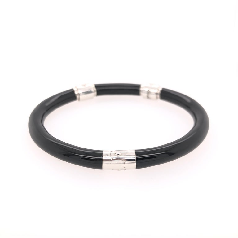 Modern Soho Black Enamel Bangle Bracelet with Diamonds For Sale