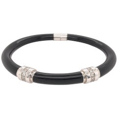 Soho Black Enamel Bangle Bracelet with Diamonds