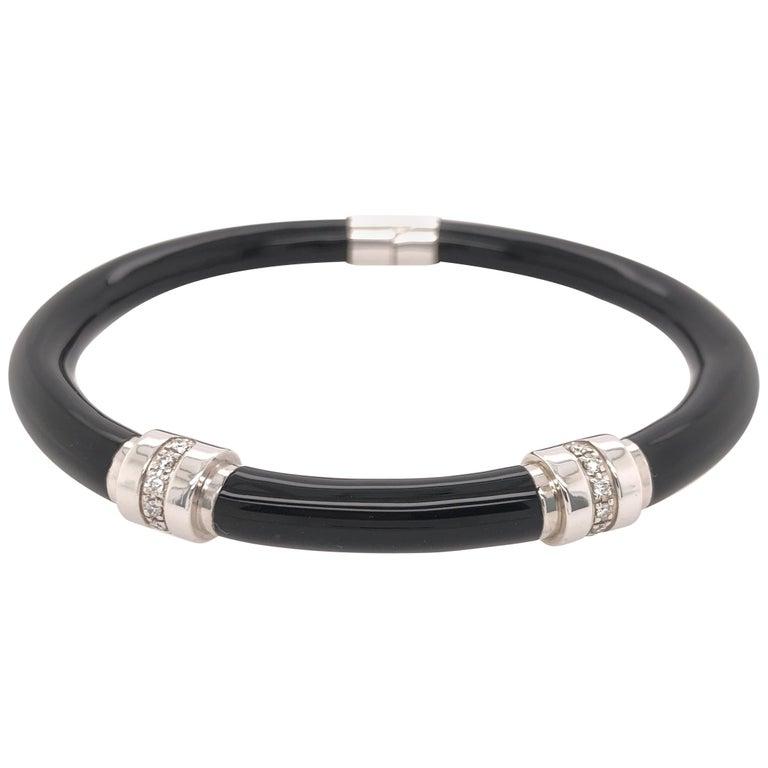 Soho Black Enamel Bangle Bracelet with Diamonds For Sale