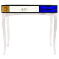 Soho Console Table in Wood and Tempered Glass 'Medium'