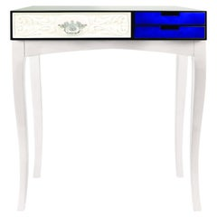 Soho Console Table in Wood and Tempered Glass 'Small'