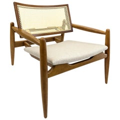 Soho Curved Cane-Back Armchair in Oak with Oatmeal Fabric