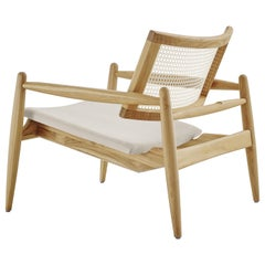 Soho Curved Cane-Back Armchair in Teak Finish