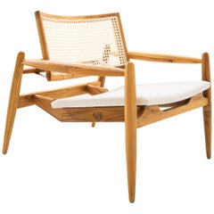 Soho Curved Cane-Back Chair in Teak and Oatmeal Fabric