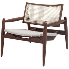 Soho Curved Cane-Back Chair in Walnut and Oatmeal Fabric