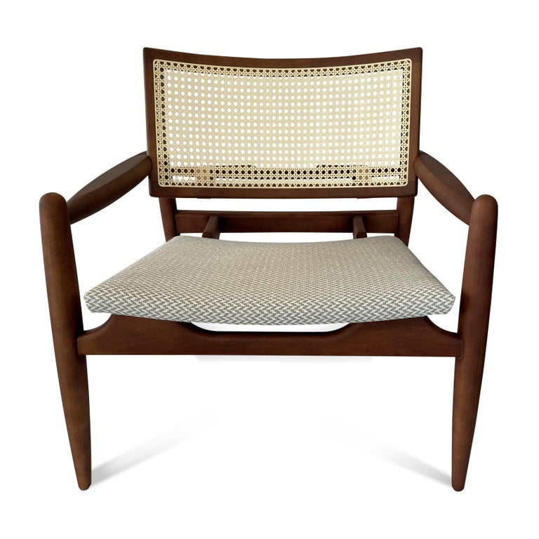 Brazilian Soho Curved Cane-Back Chair in Walnut with Herringbone Fabric Chair Seat For Sale