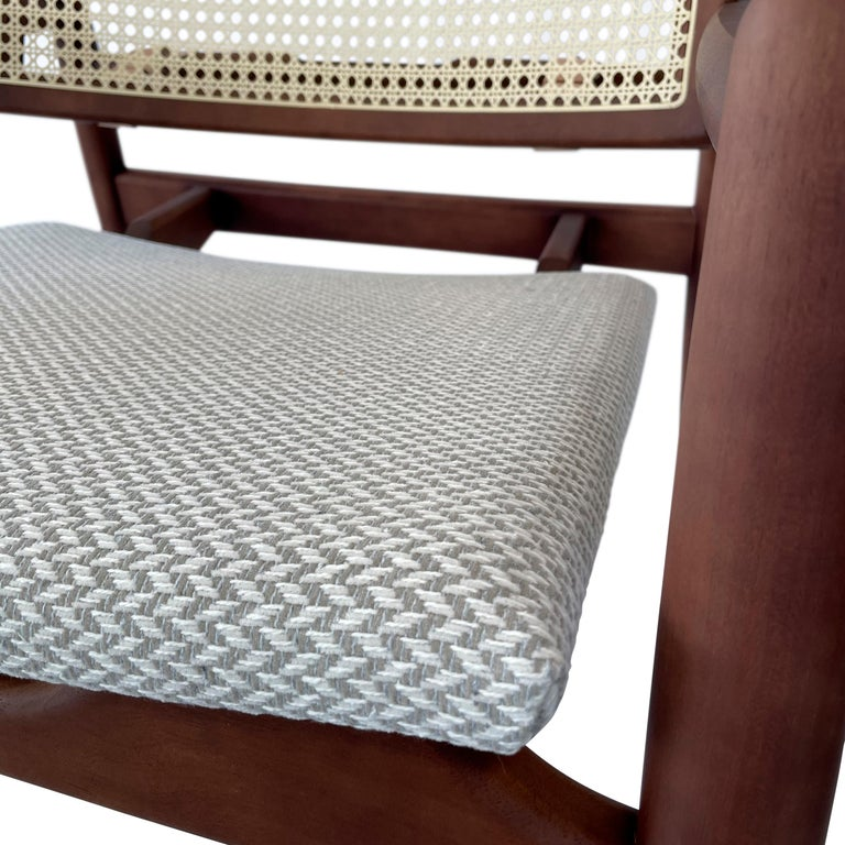 Soho Curved Cane-Back Chair in Walnut with Herringbone Fabric Chair Seat In New Condition For Sale In Miami, FL