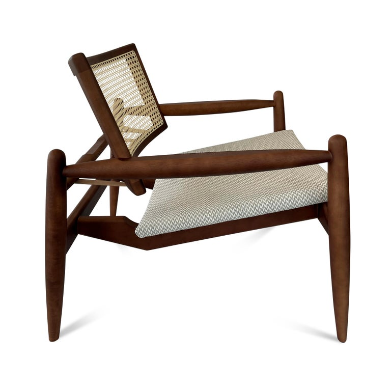 Contemporary Soho Curved Cane-Back Chair in Walnut with Herringbone Fabric Chair Seat For Sale