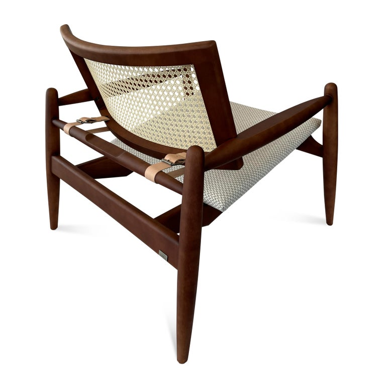 Soho Curved Cane-Back Chair in Walnut with Herringbone Fabric Chair Seat For Sale 1