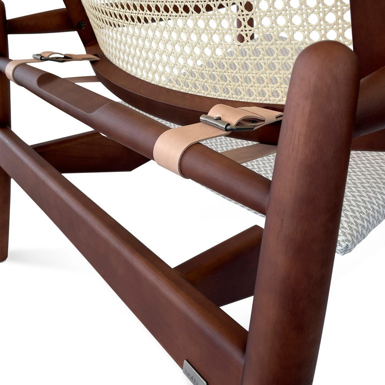 Soho Curved Cane-Back Chair in Walnut with Herringbone Fabric Chair Seat For Sale 2