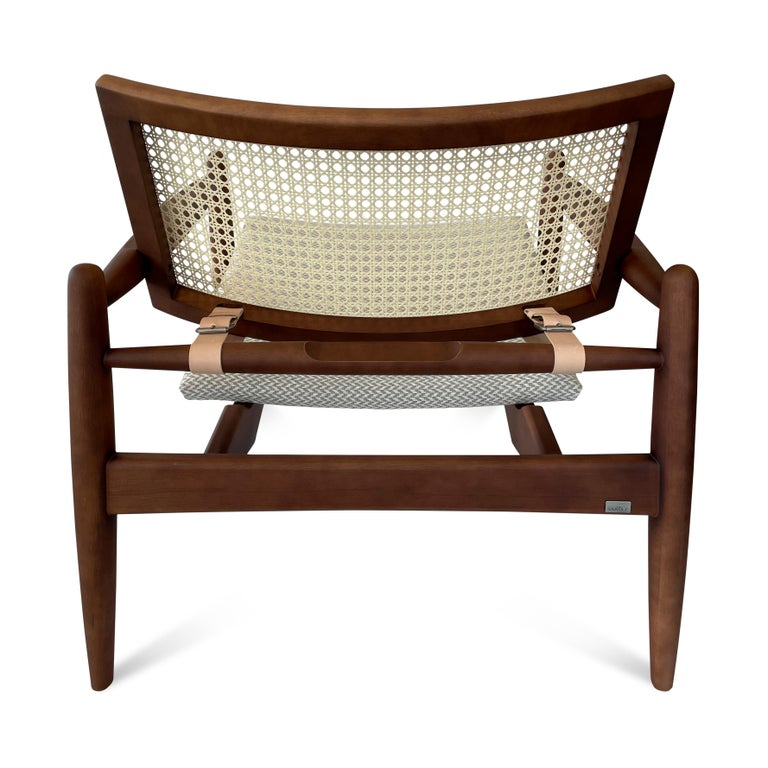 Soho Curved Cane-Back Chair in Walnut with Herringbone Fabric Chair Seat For Sale 3