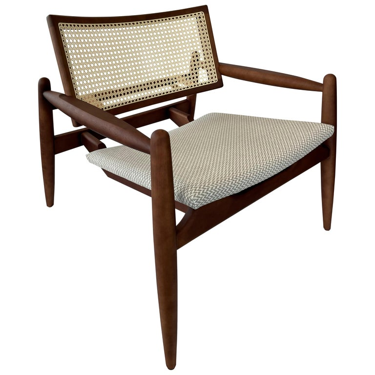 Soho Curved Cane-Back Chair in Walnut with Herringbone Fabric Chair Seat For Sale