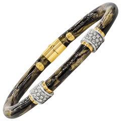 Soho Jewelry 18 Karat Yellow Gold, Enamel and Diamond Bangle Bracelet