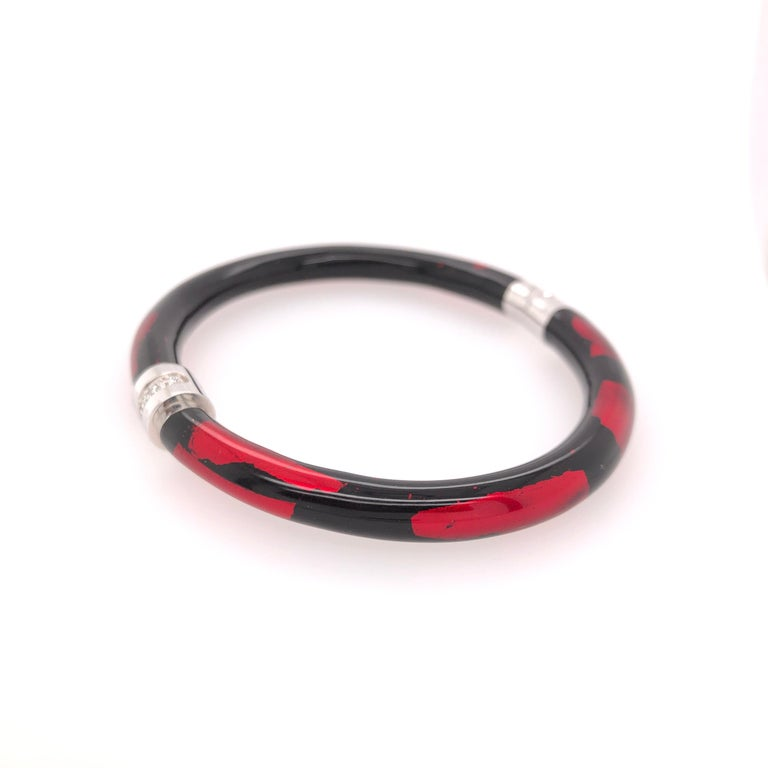 Modern Soho Red and Black Foliage Bangle with Diamonds For Sale
