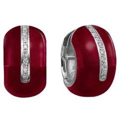 SOHO Red Enamel and Sterling Silver Earrings