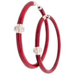 SOHO Red Enamel Hoops with Diamonds