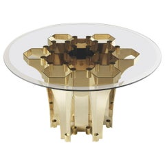 Soho Side Table in Metal Base with Bronze Glass Top by Roberto Cavalli