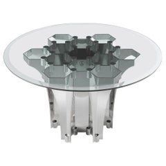 Soho Side Table in Metal Base with Natural Glass Top by Roberto Cavalli