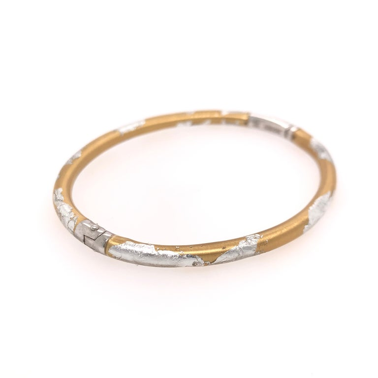 Modern SOHO Silver and Gold Foliage Bangle For Sale
