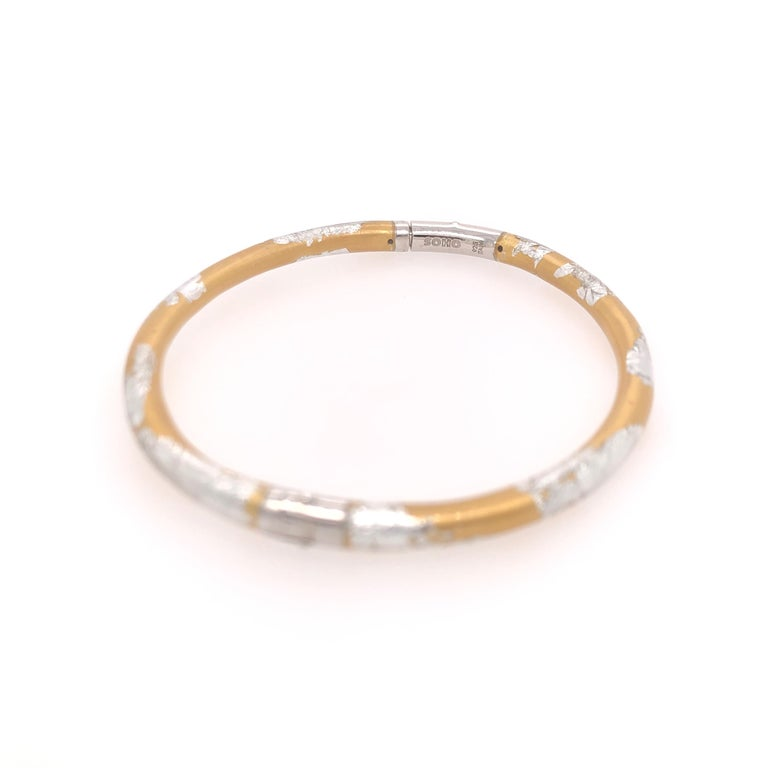 SOHO Silver and Gold Foliage Bangle In New Condition For Sale In Dallas, TX