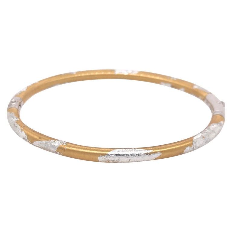 SOHO Silver and Gold Foliage Bangle For Sale