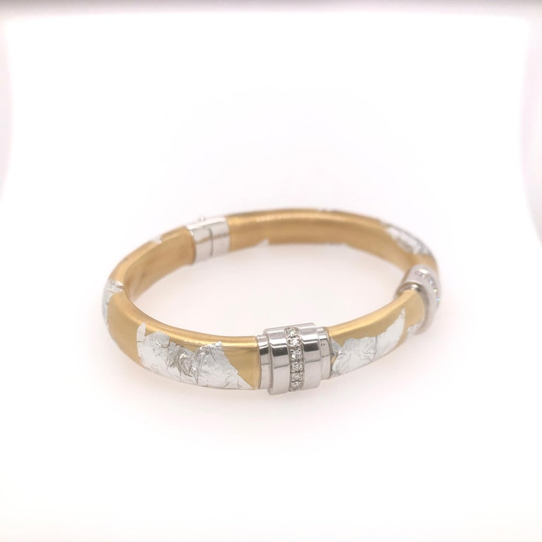 SOHO Wide Silver and Gold Foliage Bangle with Diamonds.  Total diamond carat weight: 0.48CT  Stamped: SOHO SLVR