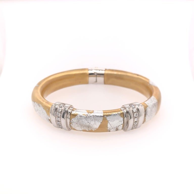 Modern SOHO Silver and Gold Foliage Bangle with Diamonds For Sale