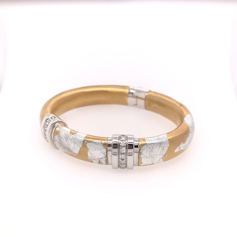 Round Cut SOHO Silver and Gold Foliage Bangle with Diamonds For Sale