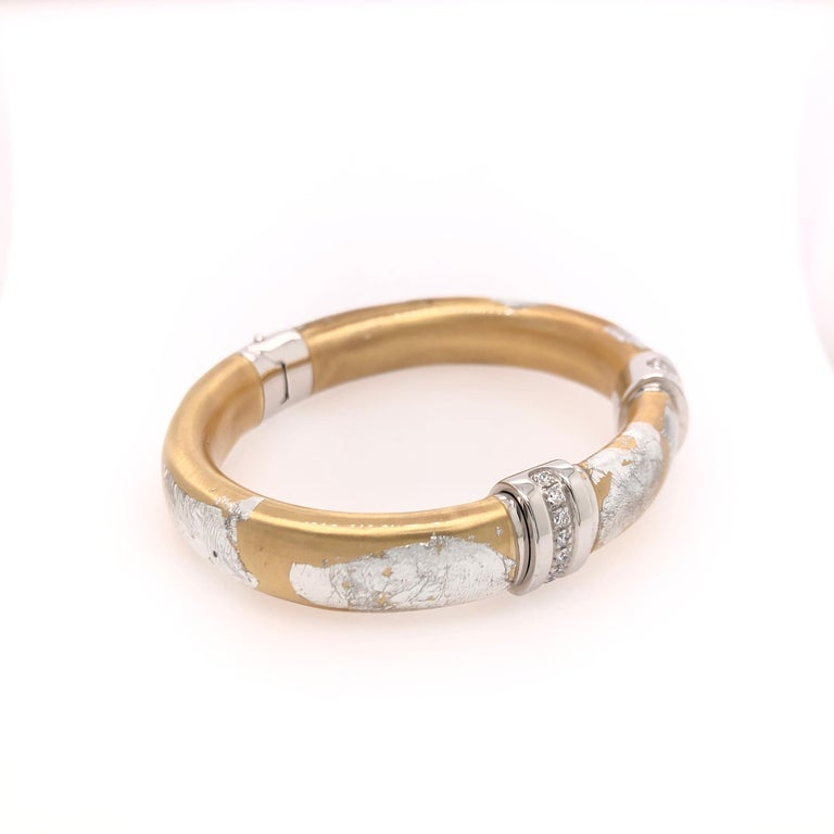 SOHO Silver and Gold Foliage Bangle with Diamonds In New Condition For Sale In Dallas, TX