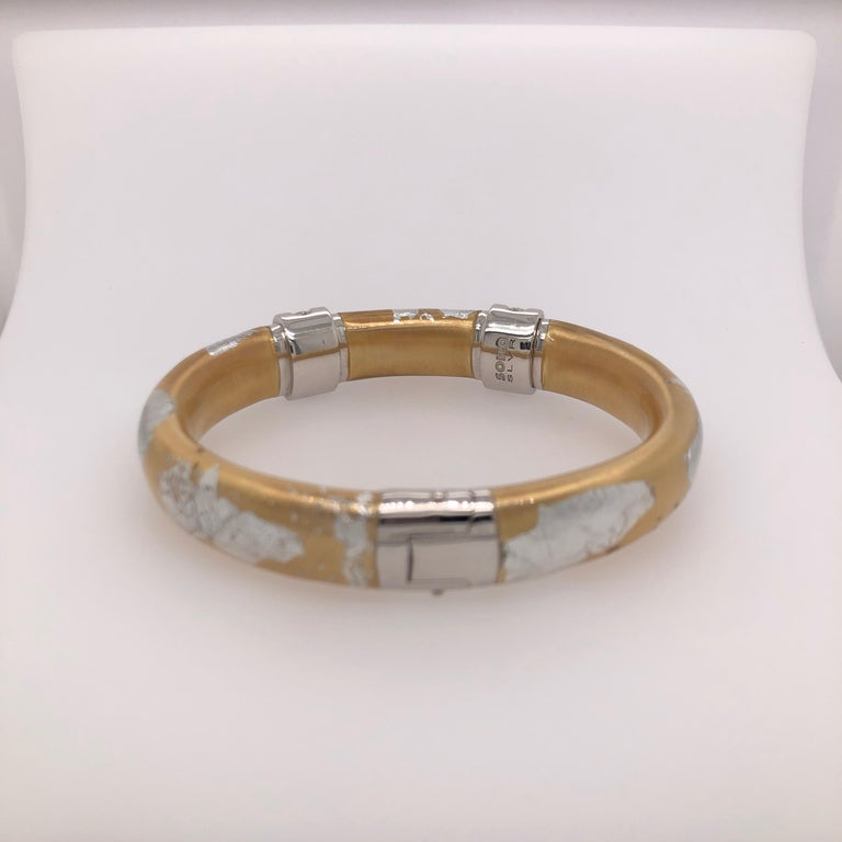Women's SOHO Silver and Gold Foliage Bangle with Diamonds For Sale