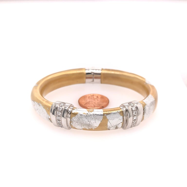 SOHO Silver and Gold Foliage Bangle with Diamonds For Sale 1