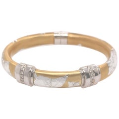SOHO Silver and Gold Foliage Bangle with Diamonds