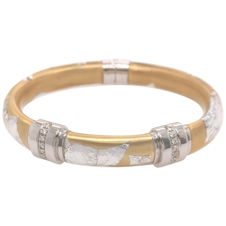 SOHO Silver and Gold Foliage Bangle with Diamonds For Sale