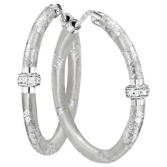 Soho Silver Foliage Diamond Hoop Earrings