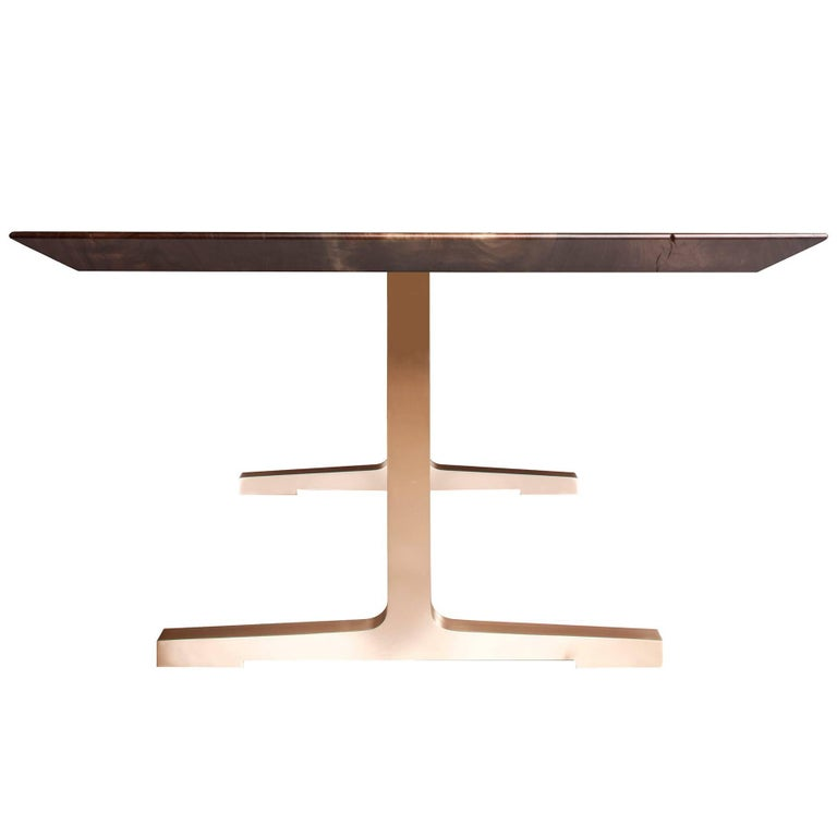 Soho Slim Bevel Dining Table with Bronze Legs by Studio Roeper