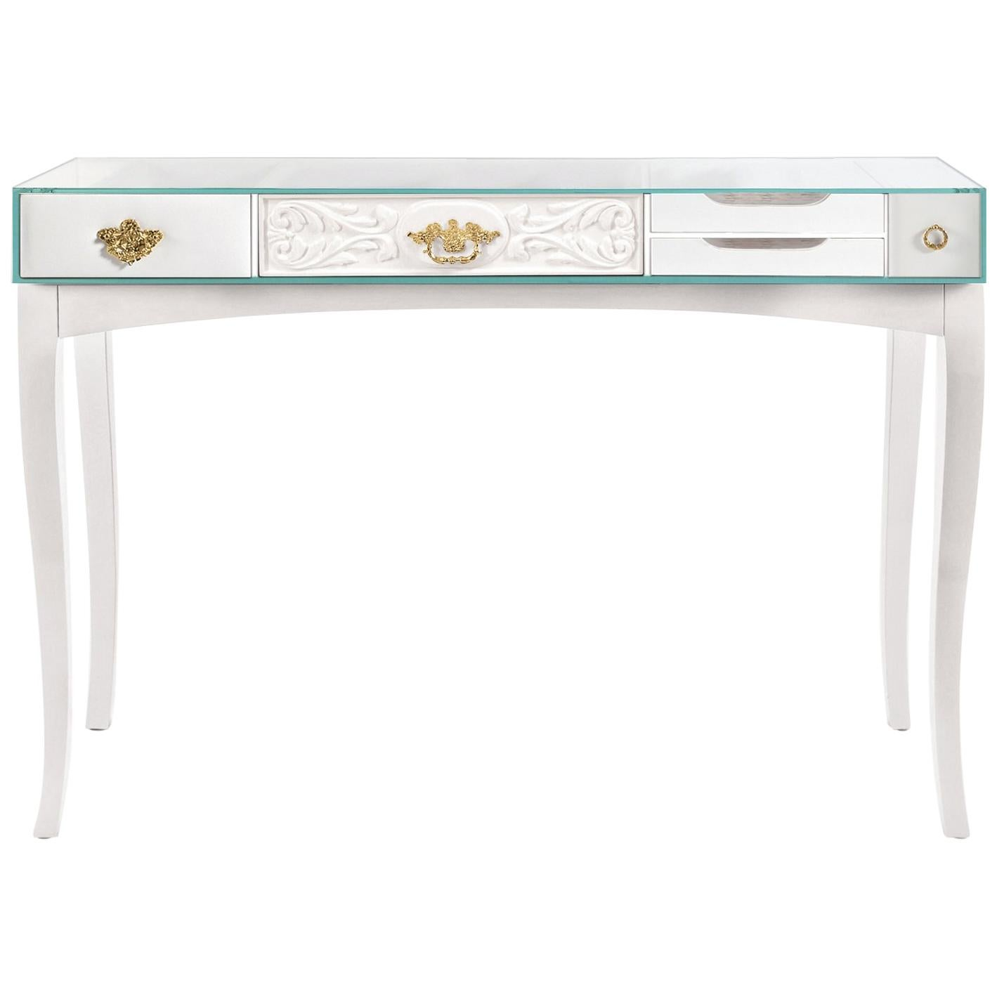 Soho White Console Table With Glass And Brass Detail By Boca Do Lobo For  Sale