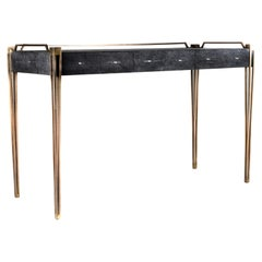 Soho Writing Desk in Black Shagreen and Bronze-Patina Brass by R&Y Augousti