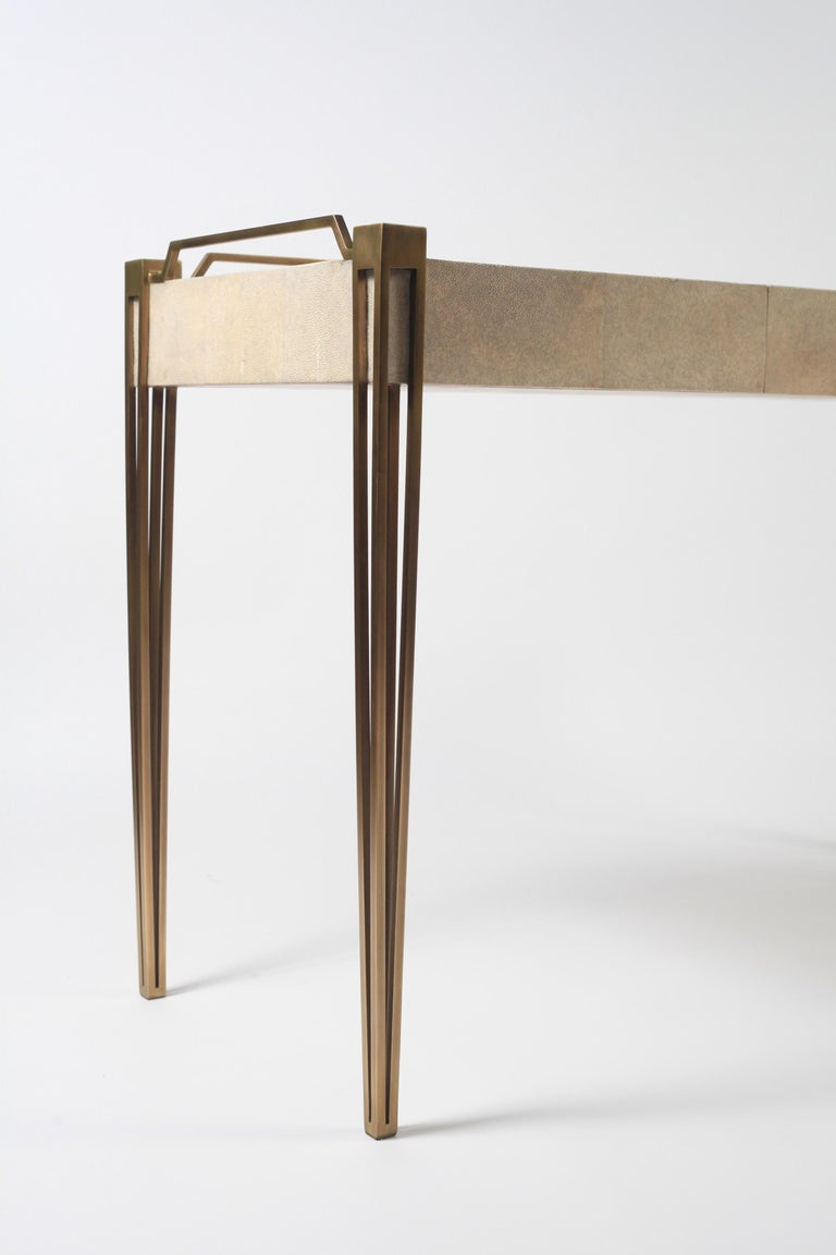 Soho Writing Desk in Brown Shagreen and Bronze-Patina Brass by R&Y Augousti For Sale 3
