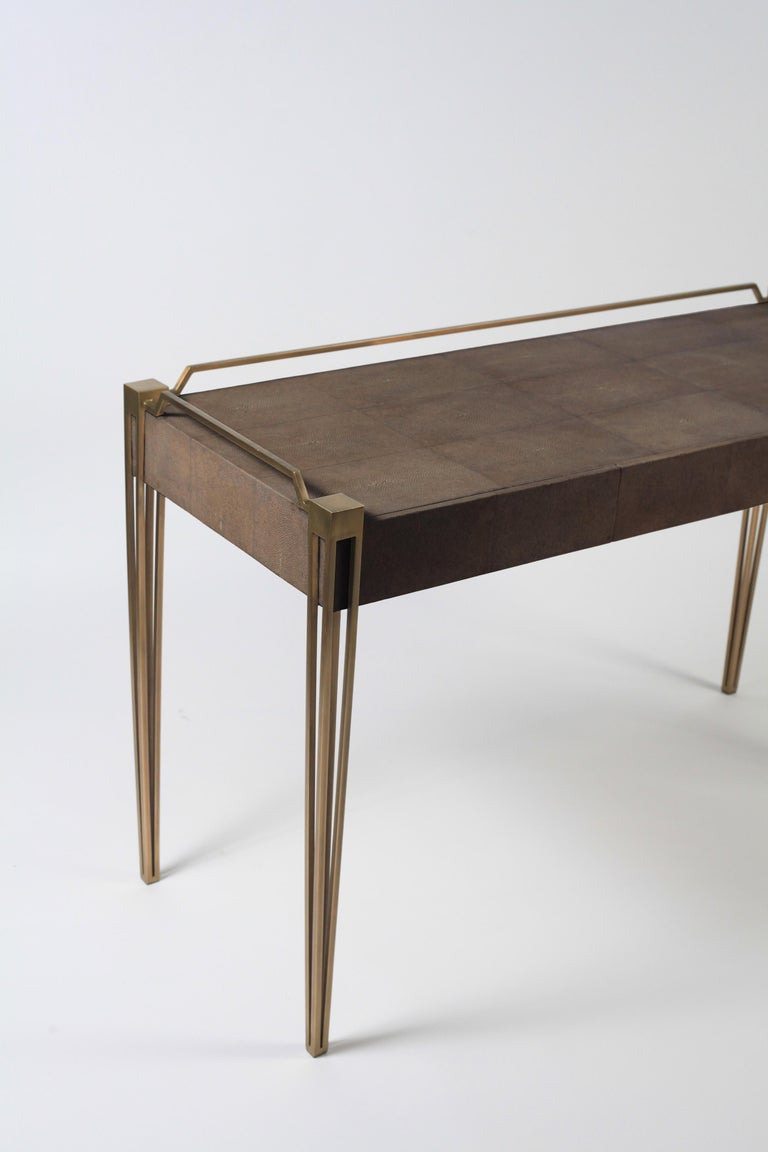 Art Deco Soho Writing Desk in Brown Shagreen and Bronze-Patina Brass by R&Y Augousti For Sale